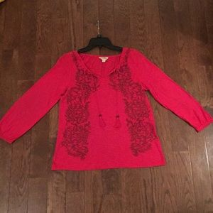 Lucky brand Embroidered peasant hippie top